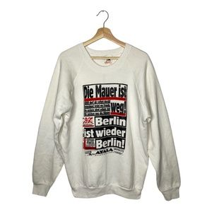 1989 Berlin Wall Take Down Front Page Crewneck 80s